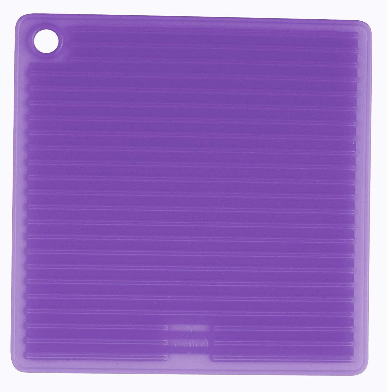 Mastrad Silicone Pot Holder - High Heat Resistant Trivet is Dishwasher Safe and Featured Double-Sided Non-Slip Ridges for Ultimate Gripability (Purple)