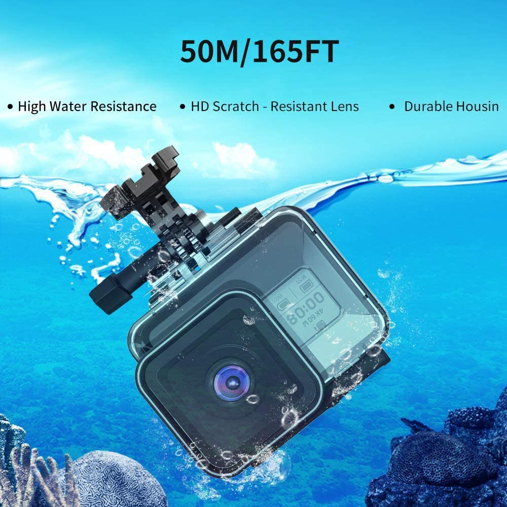 Magenta Lens Filter Kit and Bracket Screw Accessories TELESIN Waterproof Case for Go Pro Hero 8 Black Supports 50M//165FT Underwater Snorkeling Deep Diving with Dive Filter Red