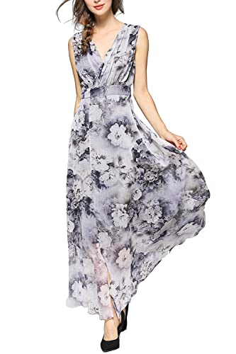 EvelynNY Womens Floral Peacock Evening Casual Split Loose Prom Party Maxi Dress
