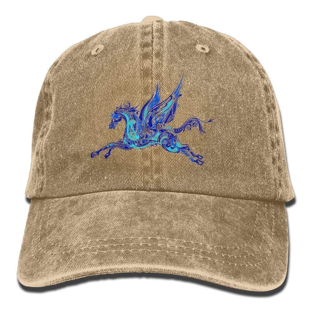 hanbaozhou Cappellini Baseball Blue Pegasus Denim Hat Adjustable Men Stretch Baseball Hats