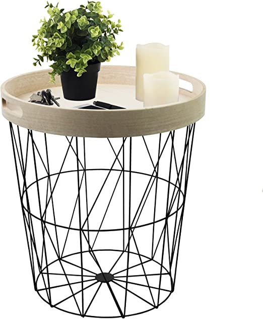 Mesa auxiliar redonda, 40 x 45 cm, con canasta de metal negro y ...