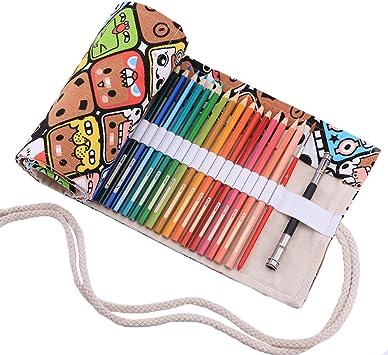 Abaría - Bolso para lápices, Estuche Enrollable para 36 lapices Colores, portalápices de Lona, Bolsa Organizador lápices para Infantil Adulto, Dibujos Animados 36: Amazon.es: Electrónica