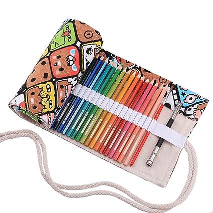 Abaría - Bolso para lápices, grande estuche enrollable para 72 lapices colores, portalápices de