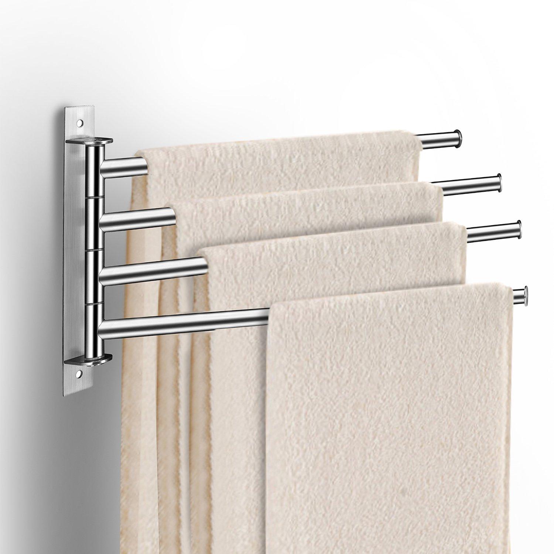 qobobo® 360 ° de rotación de toalla de acero inoxidable estante de toalla gancho de