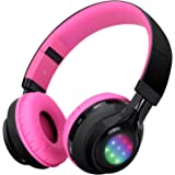 Bluetooth Headset, Riwbox AB005 Wireless Headphones 4.0 with Microphone Foldable Headphones with TF Card FM Radio and LED light for Cellphones and All Bluetooth Enabled Devices (Black&Pink)