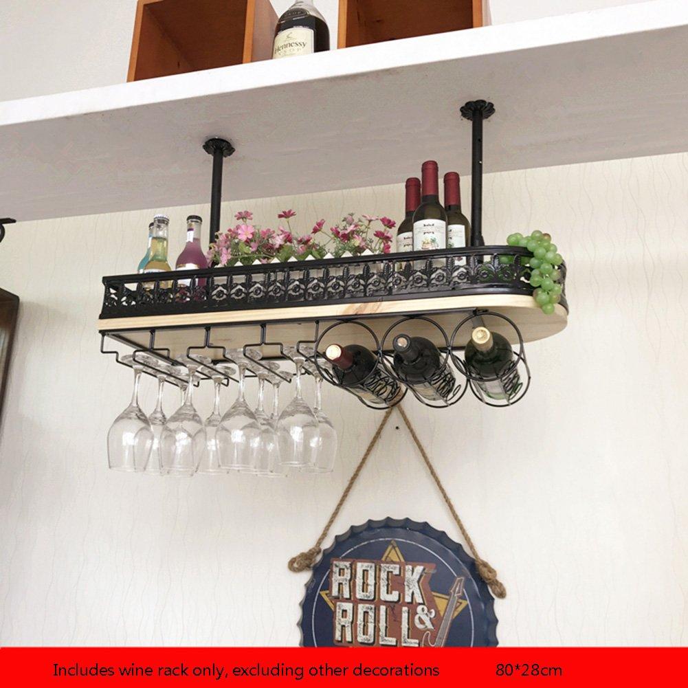 Utensilios de bar FLYSXP Estante del Vino de la Barra Sostenedor de la Copa de Vino Estante del Vino Europeo Colgante Portavasos de la decoración Estantería de Vino Color : Negro, Tamaño : 80 * 28cm Artículos y equipo de servicio para la restauración