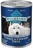 Blue Buffalo Wilderness High Protein Grain Free, Natural Senior Wet Dog Food, Turkey & Chicken Grill 12.5-oz cans (Pack…