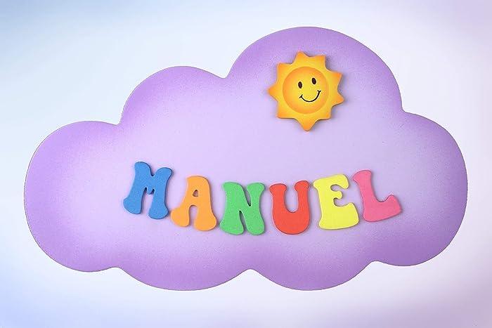 Placa Cartel decorativo infantil de madera forma de quot nube quot   personalizada con el nombre letras 002c3b309c0