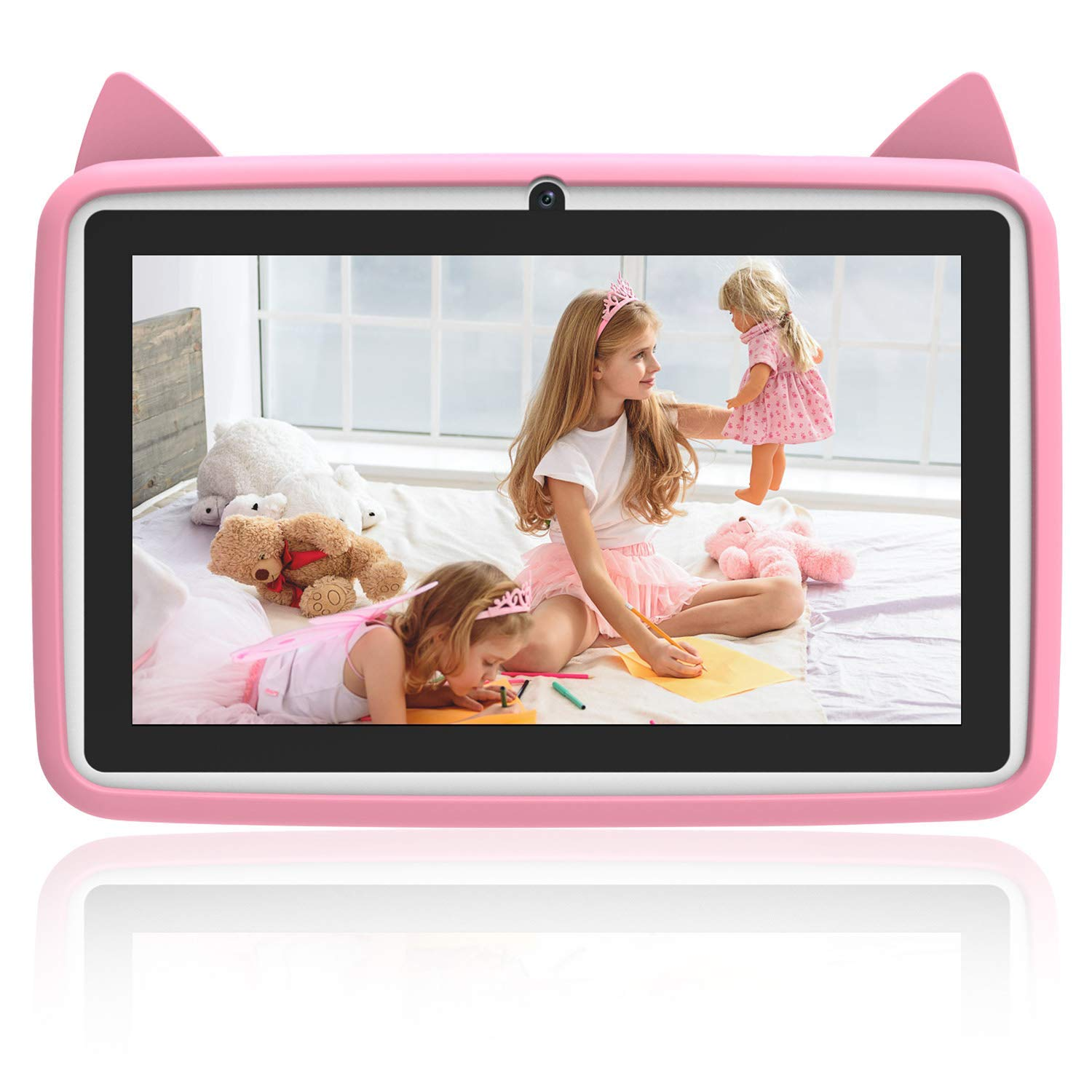 Roll Over Image to Zoom in DUODUOGO Kids Tablets with 7 inch Multi-Touch Screen IPS Display,2GB RAM 32GB ROM, Unlocked Android 6.0 Quad-core Tablet PC, Dual Camera Wi-Fi Bluetooth Edition Tab (Pink)