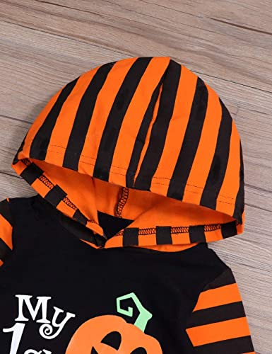 First Halloween Baby Boy Girl Jumpsuit Black White Striped Long Sleeve Pumpkin Grimace 3PCS Romper Pants Hat Outfits