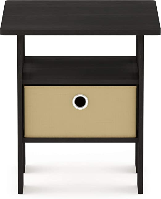 Furinno 11157 End Table Bedroom Night Stand w//Bin Drawer