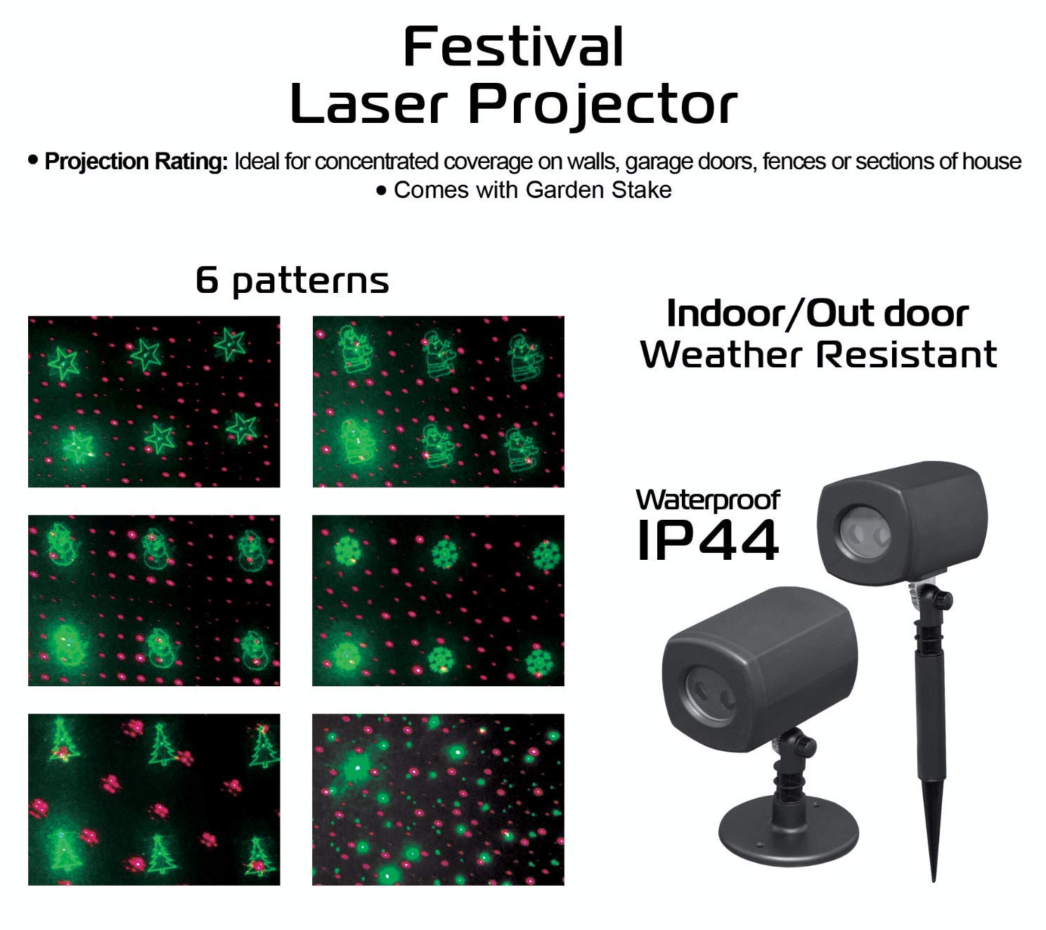 Great for The Holidays Indoor//Outdoor 6 Interchangeable Slides Festive /& Fun for Christmas Waterproof 07556 6 Holiday Patterns in One Projector 4Home Green and Red Laser LED Projector Lights