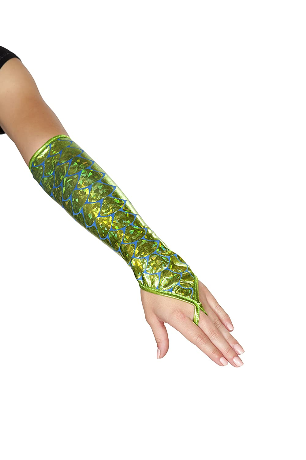 Matching Shimmery Multi-Color Mermaid Fingerless Elbow Length Gloves - DeluxeAdultCostumes.com