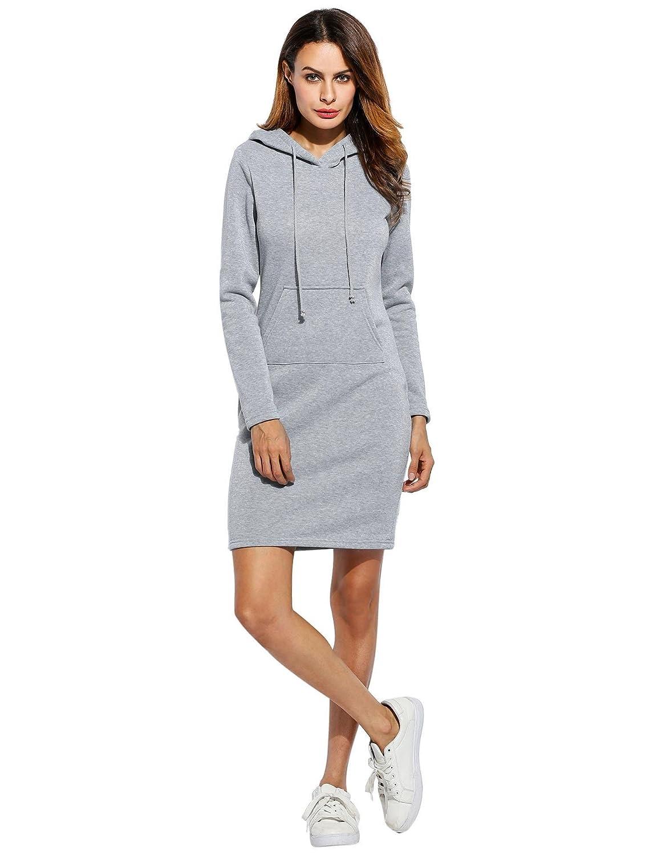 KOKOBUY Women Fashion Slim Hooded Long Sleeve Solid Pencil Hoodie Dress Casual Cotton Sweater Hoodie