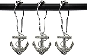 ZILucky Set of 12 Anchor Shower Curtain Hooks Decorative Home Bathroom Nautical Ocean Boat Sailing Tropical Beach Island Coastal Bath Theme Style Stainless Steel Rustproof (Silver)