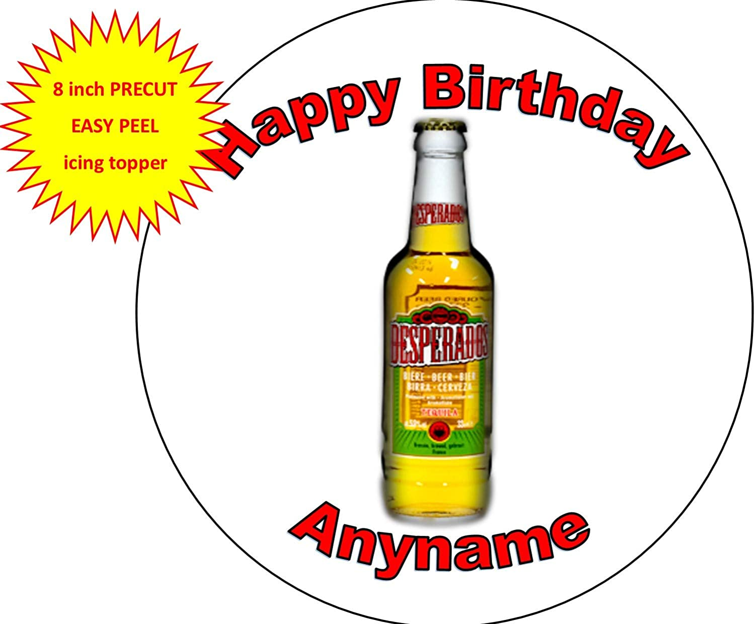 Bottle Desperados Beer Lager Colours Personalised Name Happy Birthday 8 Inch Round Easy Peel Pre Cut Edible Icing Cake Topper Decoration Amazon Co Uk Grocery