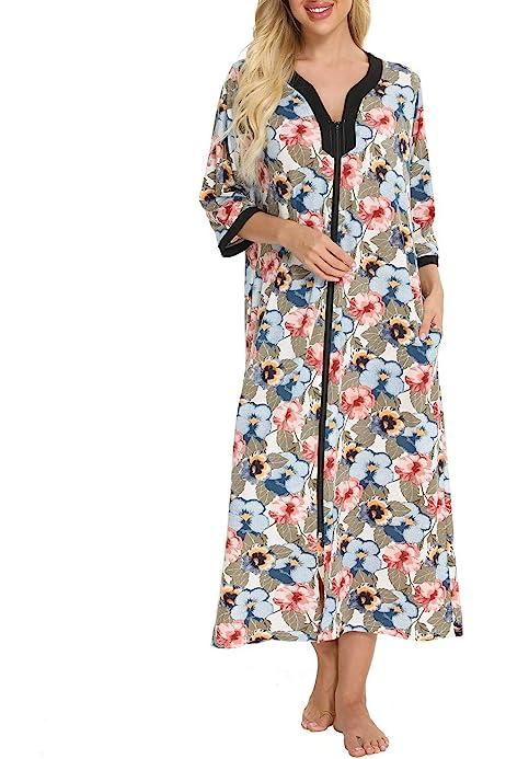 Details about  /Ekouaer Women Nightgown Robe Half Sleeve Loungewear Full Length Sleepwear Zipper