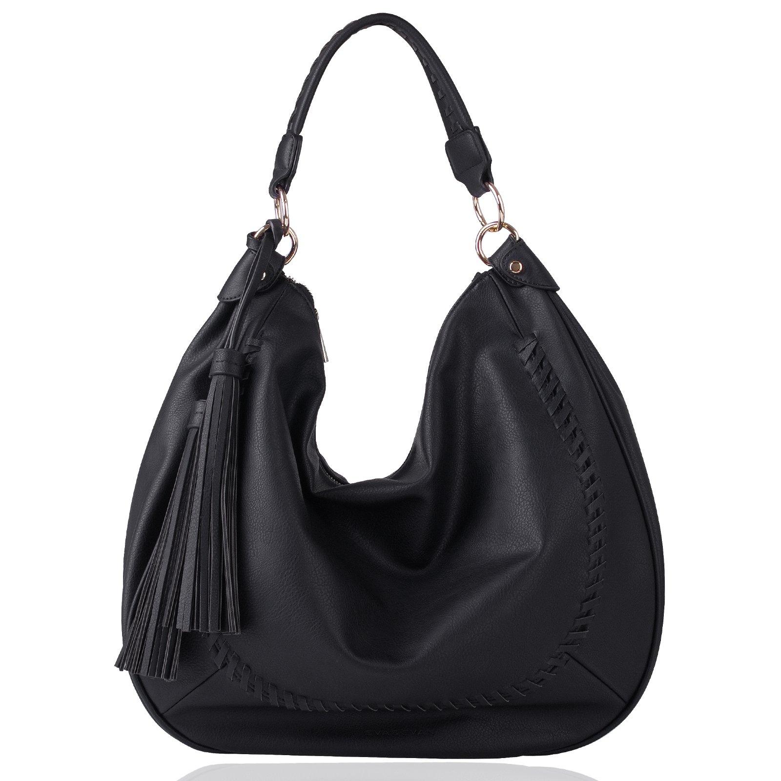 Eva & Evan Ladys Handbags Top-Handle Stylish Hobo Tote Bags Women PU Leather Shoulder Large Soft Satchel Tassels Bags (Black)