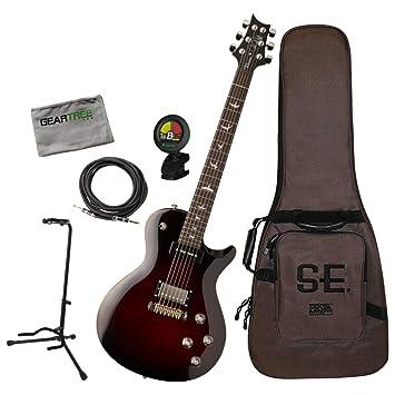 PRS SE Chris Robertson Fire Red Burst Singlecut - Guitarra eléctrica (con bolsa, cable, soporte, gamuza y afinador): Amazon.es: Instrumentos musicales