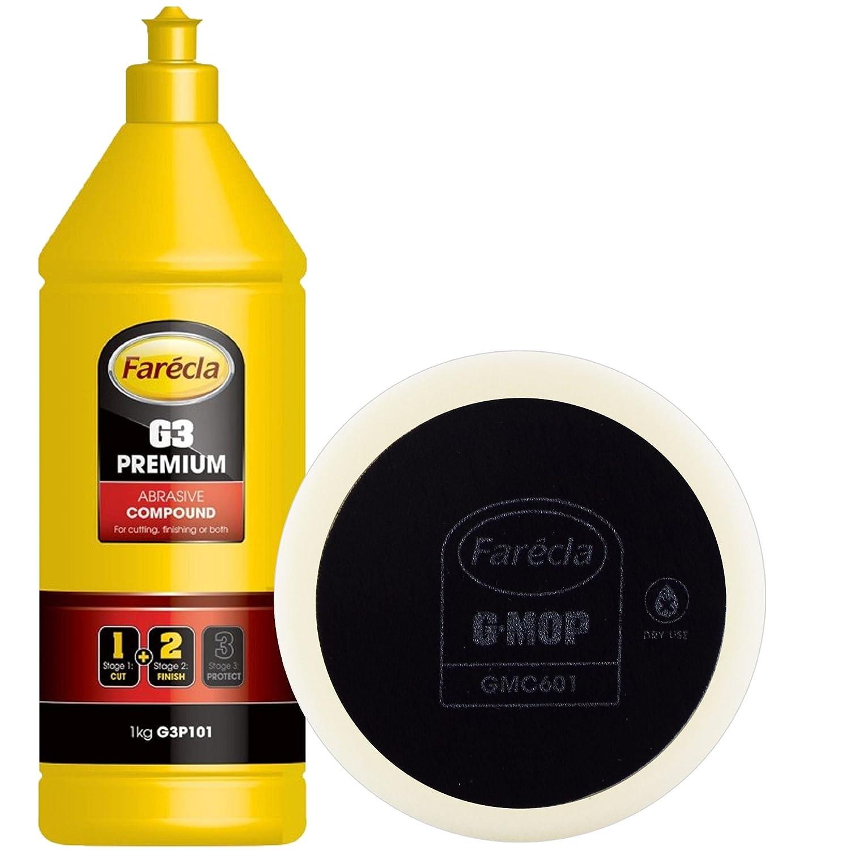 FARECLA G3 G3P101 Premium 1kg Abrasive Compound & 1 x GMC601 Compounding Dry Use Foam Pad - Swirl Free & High Gloss Finish