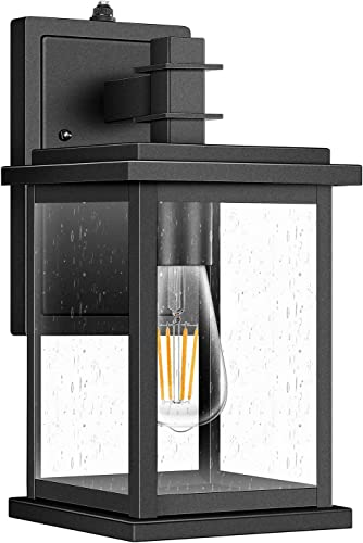 Dusk to Dawn Outdoor Wall Light,Photocell Enable or Disable Porch Light,Clear Seeded Glass Shade,Black
