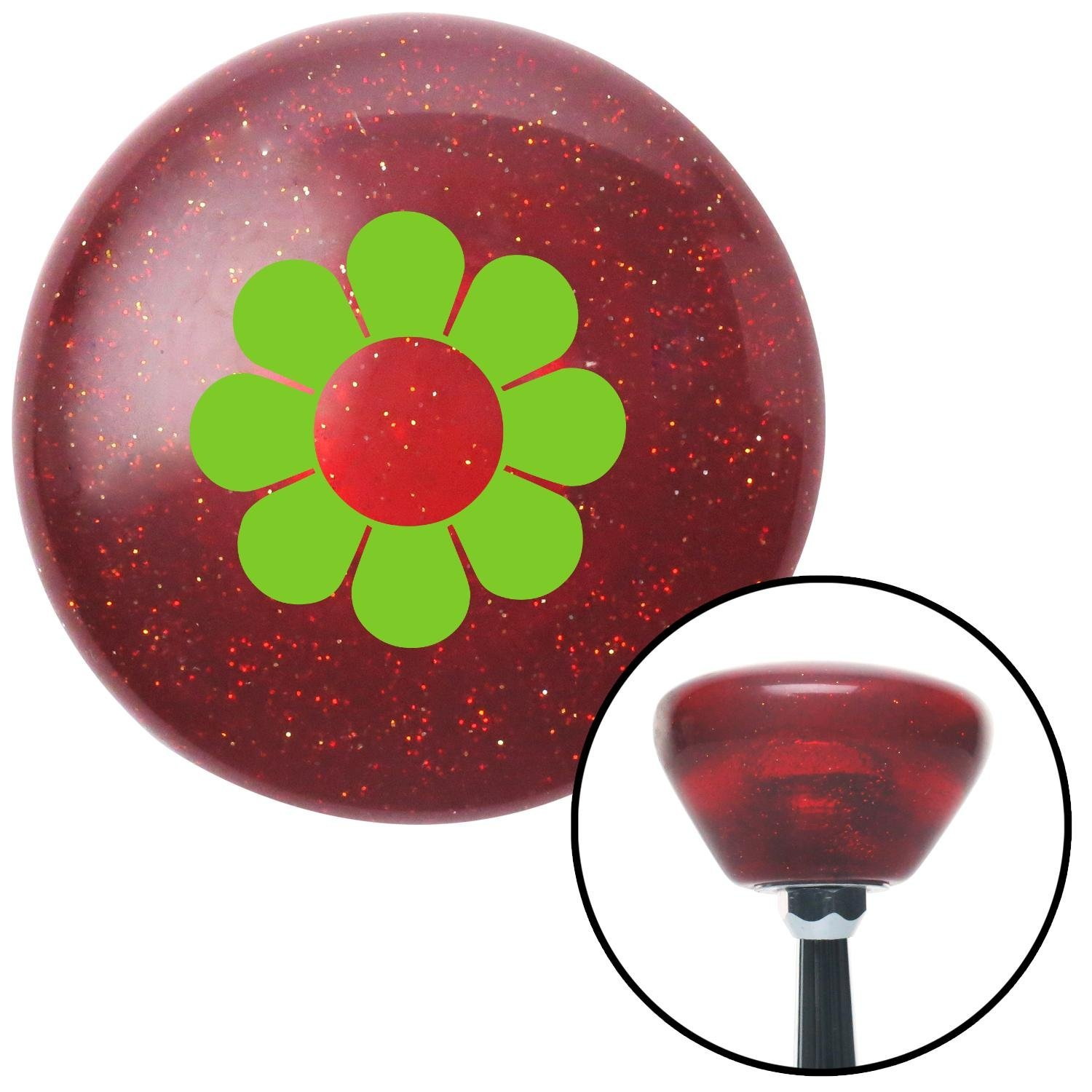 American Shifter 195379 Red Retro Metal Flake Shift Knob with M16 x 1.5 Insert Green Flower Power