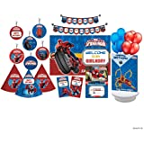 Marvel Spider Man Party Decorations - 90 Piece Includes 6 Danglers, 10 Party Hats, 10 Thankyou Cards, 1 Welcome Banner, 10 Invitations, 1 Bunting, 2 Centerpieces and 50 Baloons.