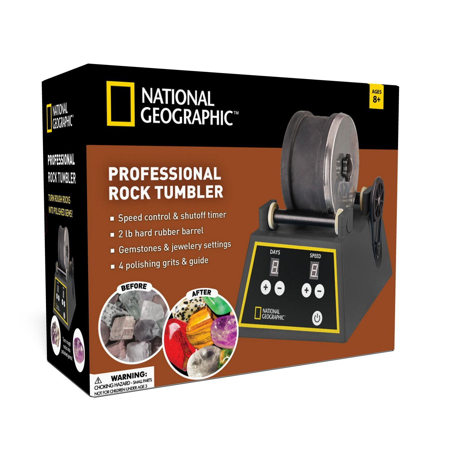 Professional Rock Tumbler by NATIONAL GEOGRAPHIC (Improved Quality Sept. 2016)