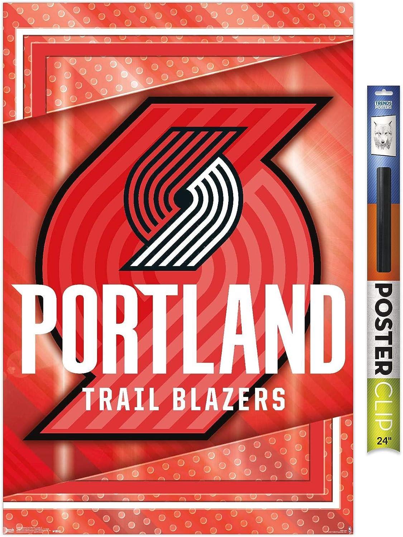 "Trends International NBA Portland Trail Blazers - Logo 17 Wall Poster, 22.375"" x 34"", Poster & Clip Bundle"