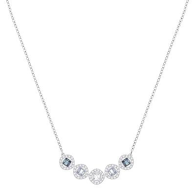 5073fdc3c Swarovski Angelic Square Necklace, Blue, Rhodium plating: Amazon.co.uk:  Jewellery