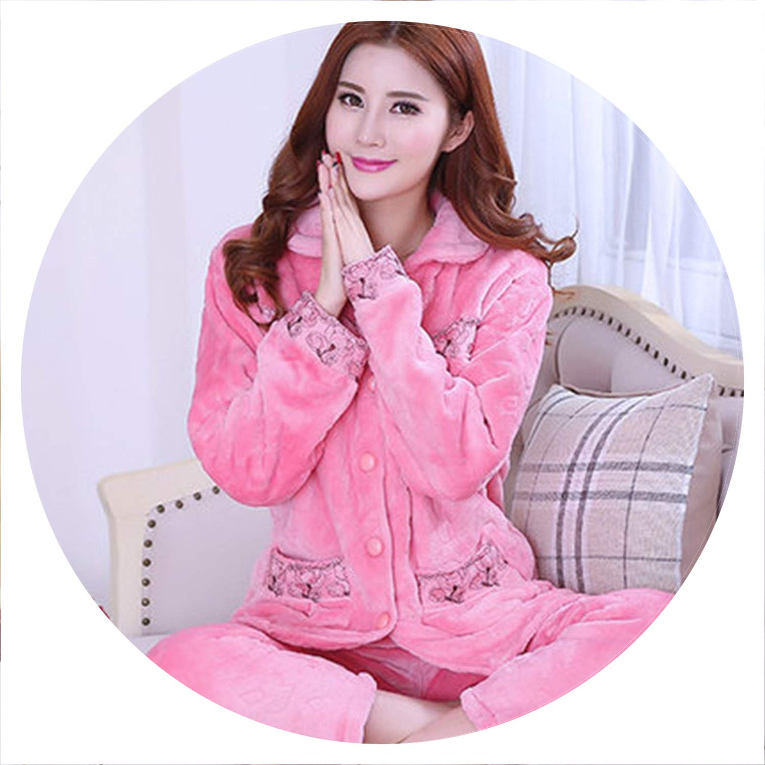 color 14 100Expectations Winter Pyjama Flannel Sexy Dot Print Warm Winter Thick Pajama Set Long Sleeve Full Trousers