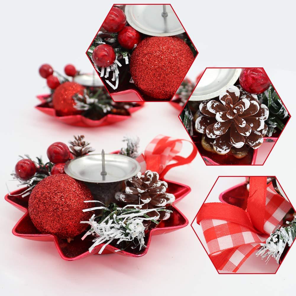 D/écoration Rouge D/écoration de No/ël pour Salle /à Manger ou Salle /à Manger N/œud en Ruban Bibivisa Lot de 3 bougeoirs de No/ël en Forme de c/ône de pin givr/é