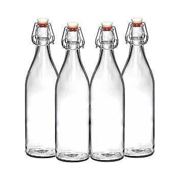 Juego de 4 – 33.75 oz botella de cristal con tapón, Giara Swing Top botellas