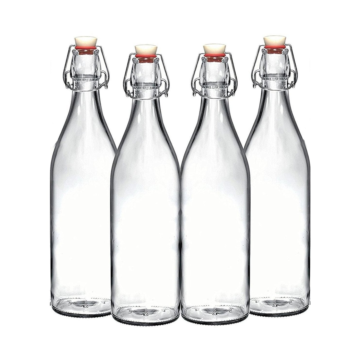 Set of 4-33.75 Oz Giara Glass Bottle with Stopper Caps, Carafe Swing Top Bottles with Airtight Lids for Oil, Vinegar, Beverages, Liquor, Beer, Water, Kombucha, Kefir, Soda, By California Home Goods