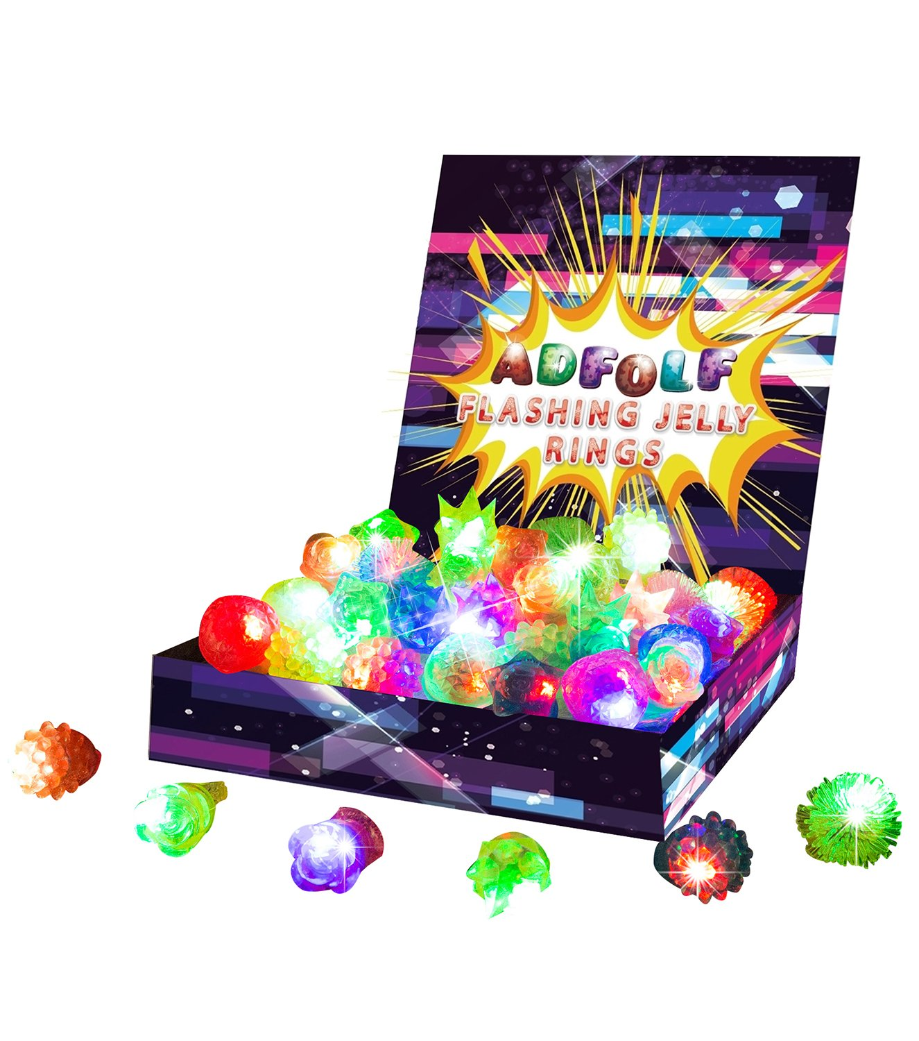 ADFOLF 36 Pack Flashing Led Bumpy Rubber Rings Party Favors,Light up Finger Toy SYNCHKG104964