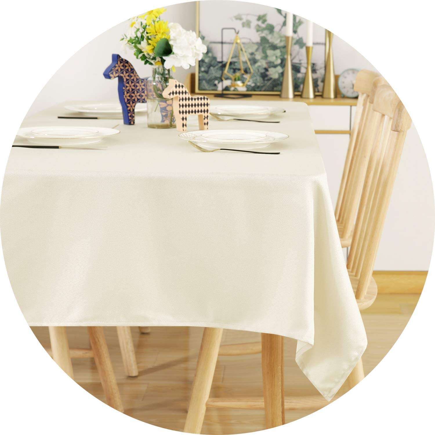 Deconovo Water Resistant Tablecloth Beige Table Covers Sprillproof Tablecloth for Kitchen Dining Tabletop Decoration 54x72 Inches Beige