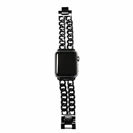 1878b057f60 FUNKtional Wearables Double Row Chain Link Apple Watch Compatible  Replacement Band - Stainless Steel Strap for All Apple Watch Series and Face  Sizes - Wrist ...