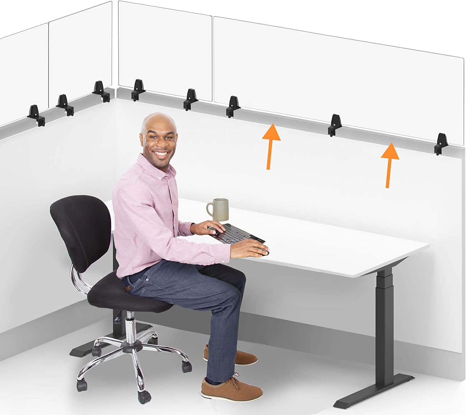 Stand Steady Clear Cubicle Wall Extender | Single 60 in x 24 in Panel | Clamp On Acrylic Shield & Sneeze Guard | Portable Desk Divider for Desk Walls & Cubicles | for Offices, Libraries & More