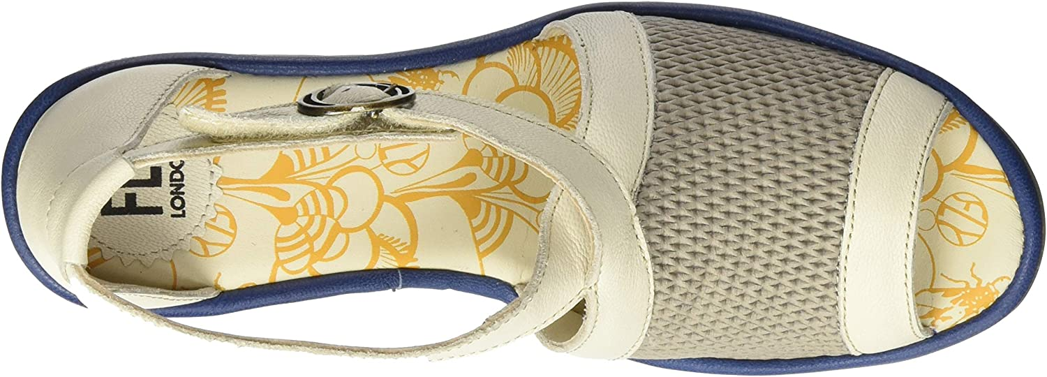 Fly London Yace163fly, Sandales Bout Ouvert Femme Multicolore Greige Offwhite Blue 002