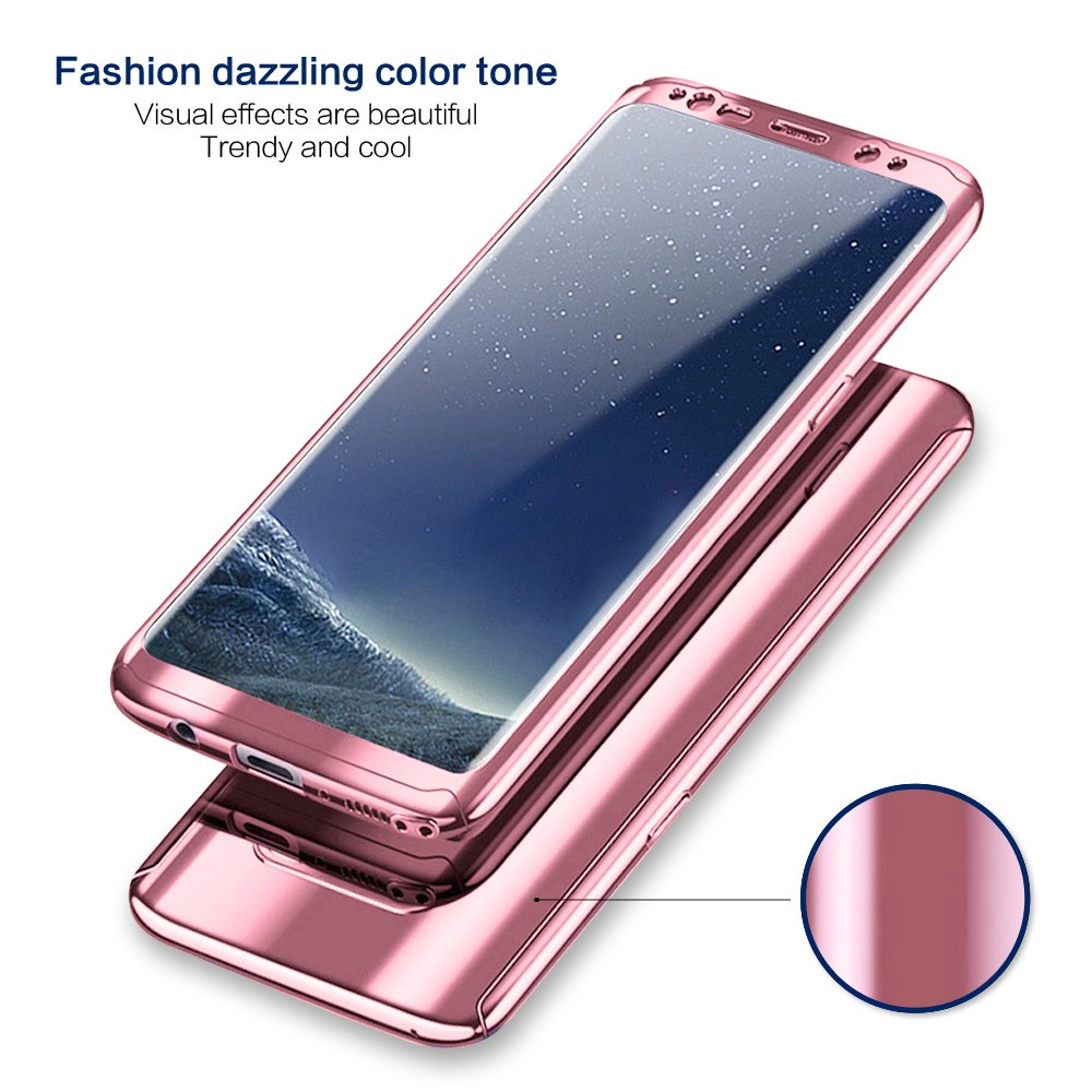 Tearl Compatible Samsung Galaxy S8 Plus Case 3 in 1 Full Body Protective Cover Plating Mirror PC+Screen Protector Shockproof Hybrid Electroplated Hard Case Thin Bumper Shell