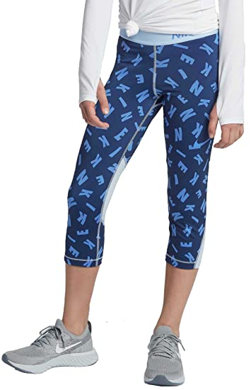 f45ce98fc Nike Girls Pro Toss Print Capris (Binary Blue/Royal Tint, Small)