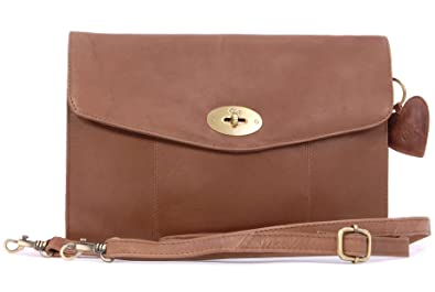 Handtasche / Clutch mit Klemmverschluss aus Leder von Gigi - Othello 8757 - Schwarz - GRÖßE: B: 27 cm, H: 16.5 cm, T: 4 cm Gigi