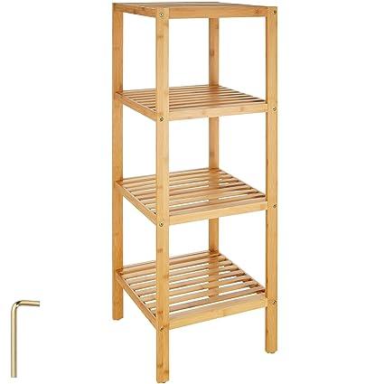 TecTake Scaffale in legno espositore libreria bamboo bagno dispensa ...