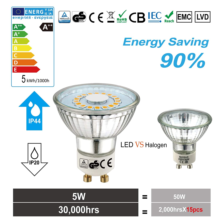 GU5.3 LED Warmwei/ß 2700K MR16 LED 12V 5W LED Leuchtmittel Kann perfekten Ersatz f/ür 50W Halogenlampe 500 Lumen LED Lampen 120 /° Abstrahlwinkel LED Birnen 10er-Pack