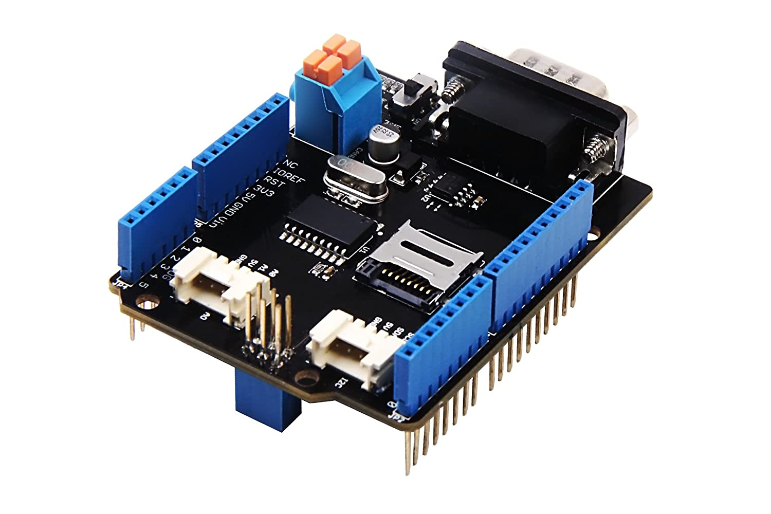 In ZIYUN CAN-BUS Shield V2,uses MCP2515 as CAN-BUS controller and MCP2551 as CAN transceiver,protocol communication board compatible with standard CAN interface