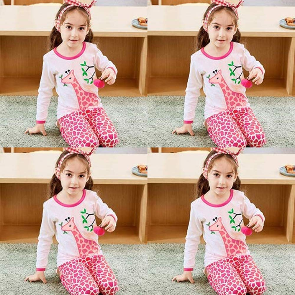 LitBud Toddler Girls Pajamas 2 Piece Set 100% Cotton Giraffe Nightwear Sleepwear Long Sleeve for Kids UK 1 to 7 Years