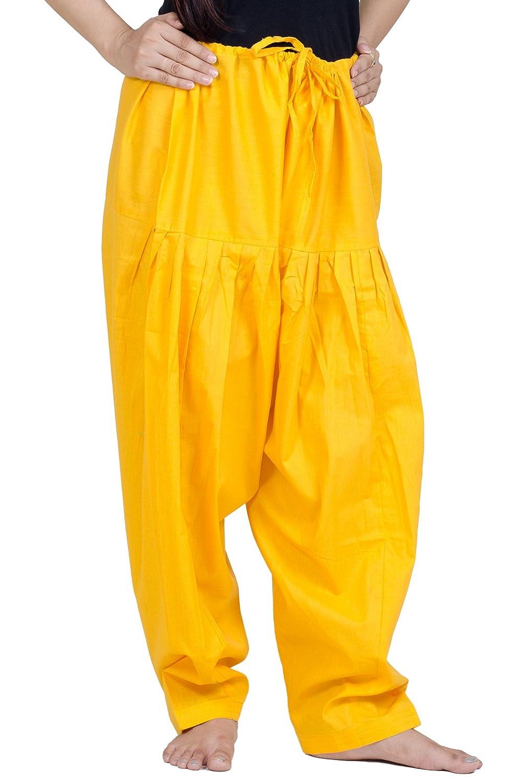 Chandrakala Women's Pure Cotton Plain Patiala Dhoti Salwar Indian Pants(P107)