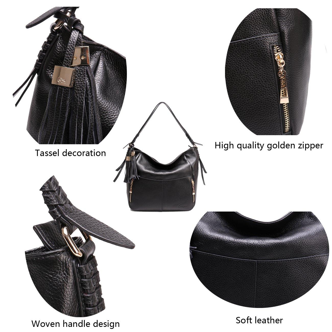 Geya Women's Fashion Genuine Leather Handbag Shoulder Handbag with Imported Soft Hot Leather (Black) by Geya (Image #6)