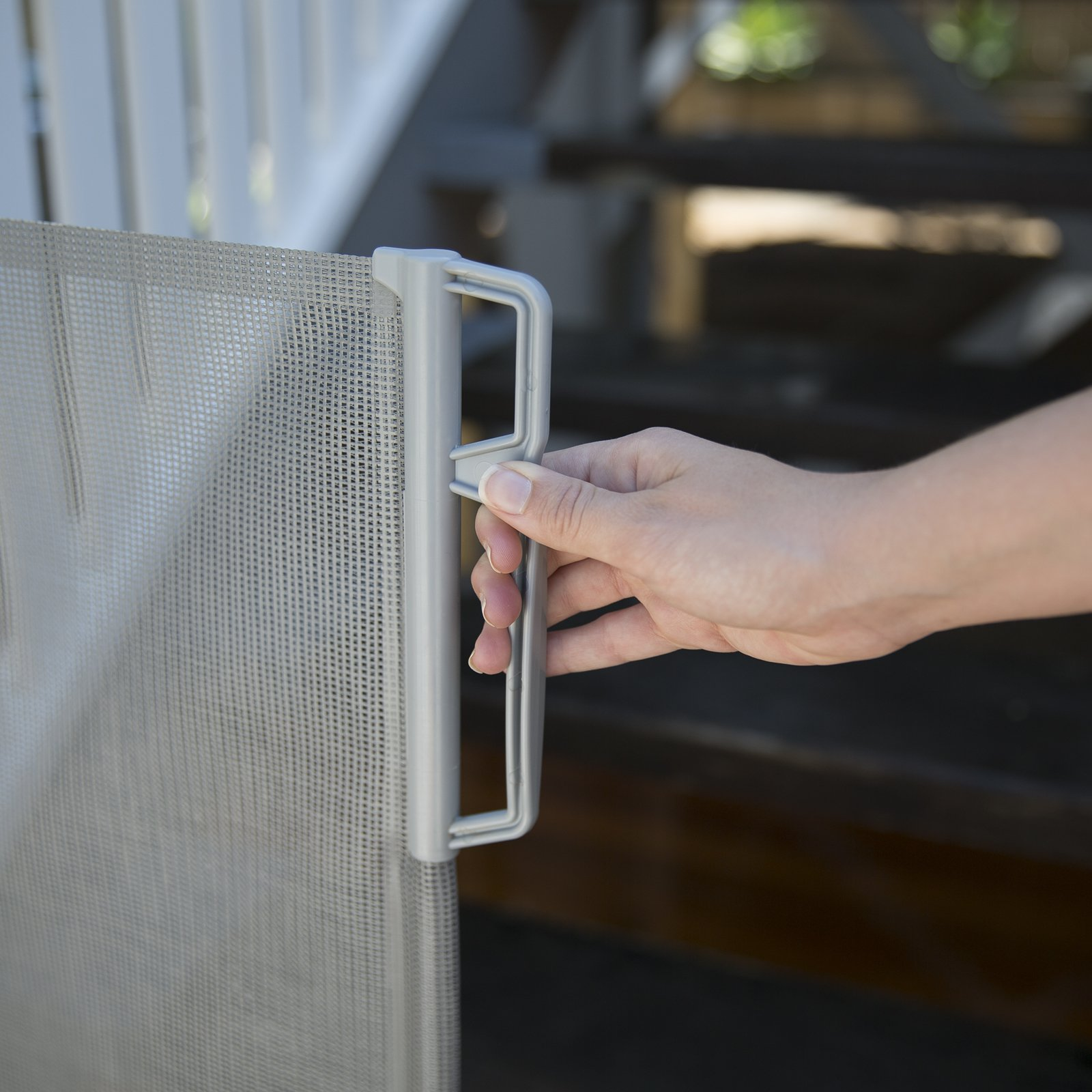 "Perma Outdoor Retractable Baby Gate, Extra Wide up to 71"", Gray by Perma Child Safety (Image #2)"