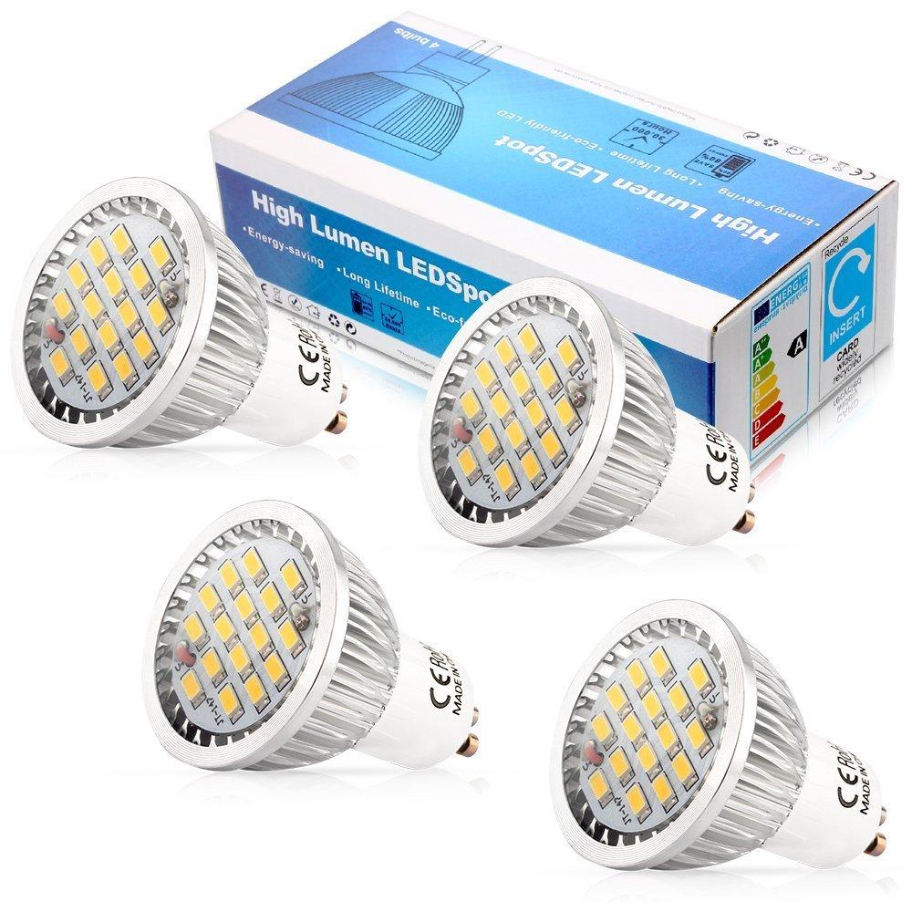 Elinkume 10 x AC90-240V 5.5W GU10 16 SMD 5630 LED Energy Saving Bulbs Cool White(6000-7000K) (4xGU10 Bulbs(Cool White))
